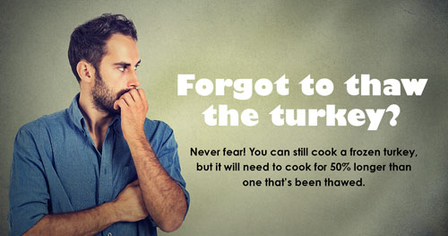 Forgot to thaw the turkey? Never fear! You can still cook a frozen turkey, but it will need to cook for 50% longer than one that's been thawed.